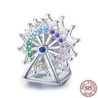 Befestiger Zirkonia Sterlingsilber Perlen, 925er Sterling Silber, Riesenrad, platiniert, Micro pave Zirkonia & ohne troll, violett, 12x13mm, Bohrung:ca. 4.5-5mm, verkauft von PC