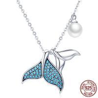 Thailand Sterling Silber Halskette, mit Muschelkern, Oval-Kette & Micro pave Zirkonia & für Frau, 16x17mm, verkauft per ca. 17 ZollInch Strang