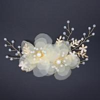 Zinklegierung Haarschnabel, mit Gaze & Kristall & Kunststoff Perlen, goldfarben plattiert, für Braut, frei von Nickel, Blei & Kadmium, 140x60mm, verkauft von PC