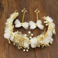 Braut Schmucksets, Zinklegierung, mit Getrocknete Blumen & Gaze & Kunststoff Perlen, plattiert, für Braut & verschiedene Stile für Wahl & mit Strass, frei von Nickel, Blei & Kadmium, 380x60mm, 60mm, verkauft von PC
