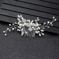 Braut Dekoratives Haarkämmchen, Kunststoff Perlen, mit Kristall & Messing, silberfarben plattiert, für Braut, frei von Nickel, Blei & Kadmium, 130x60mm, verkauft von PC