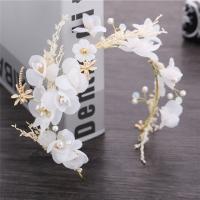 Braut Haar Blumen, Stoff, mit Getrocknete Blumen & Kunststoff Perlen & Zinklegierung, goldfarben plattiert, frei von Nickel, Blei & Kadmium, 380mm, verkauft von PC