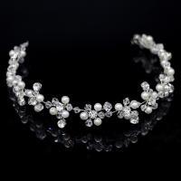 Braut Haar Blumen, Messing, mit Kunststoff Perlen, silberfarben plattiert, für Braut & mit Strass, frei von Nickel, Blei & Kadmium, 310x20mm, verkauft von PC