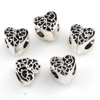 Zinklegierung European Perlen, flacher Herz, antik silberfarben plattiert, ohne troll, frei von Nickel, Blei & Kadmium, 11x11x10mm, Bohrung:ca. 5mm, verkauft von PC