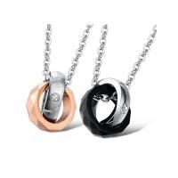 Edelstahl Ehepaar Halskette, plattiert, verschiedene Größen vorhanden & Oval-Kette & mit Strass, keine, verkauft von Strang