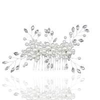 Braut Dekoratives Haarkämmchen, Messing, mit Kunststoff Perlen, silberfarben plattiert, für Braut & mit Strass, frei von Nickel, Blei & Kadmium, 110x90mm, verkauft von PC