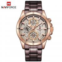 NAVIFORCE® Uhrenkollektion, Edelstahl, mit Glas & Zinklegierung, plattiert, für den Menschen & glänzend, keine, 45mm, Länge:ca. 9 ZollInch, verkauft von PC