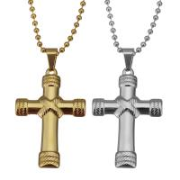 Edelstahl Schmuck Halskette, Umwickelter Kreuz, plattiert, unisex & Kugelkette, keine, 29x43mm, 2.5mm, verkauft per ca. 21 ZollInch Strang