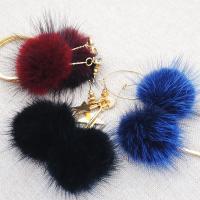 Zinklegierung Tropfen Ohrring, mit Marderhaar, goldfarben plattiert, verschiedene Stile für Wahl & für Frau & mit kubischem Zirkonia, keine, frei von Nickel, Blei & Kadmium, 35x70mm, verkauft von Paar