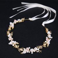 Zinklegierung Schweißband, mit Stoff & Weiße Muschel & Kunststoff Perlen, goldfarben plattiert, für Braut & mit Strass, frei von Nickel, Blei & Kadmium, 350mm, verkauft von PC