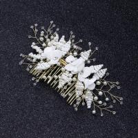 Braut Dekoratives Haarkämmchen, Messing, mit Stoff & Kristall & Kunststoff Perlen, Blume, goldfarben plattiert, für Braut, frei von Nickel, Blei & Kadmium, 160x100mm, verkauft von PC