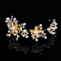 Braut Haar Blumen, Zinklegierung, mit Kunststoff Perlen, goldfarben plattiert, mit Strass, frei von Nickel, Blei & Kadmium, 280mm, verkauft von PC