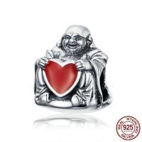Thailand European Perlen, Buddha, ohne troll & Emaille, 10x12mm, Bohrung:ca. 4.5-5mm, verkauft von PC