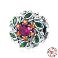 Bali Sterling Silber Perlen, Thailand, Blume, Micro pave Zirkonia & ohne troll, 13x24mm, Bohrung:ca. 4.5-5mm, verkauft von PC