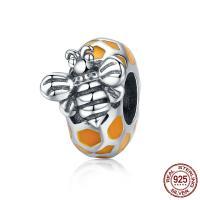Bali Sterling Silber Perlen, Thailand, Biene, ohne troll & Emaille, 8x10mm, Bohrung:ca. 4.5-5mm, verkauft von PC
