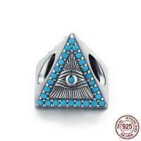 Thailand European Perlen, mit Synthetische Türkis, Dreieck, ohne troll, 12x9mm, Bohrung:ca. 4.5-5mm, verkauft von PC