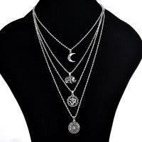 Zinklegierung Halskette, antik silberfarben plattiert, mehrschichtig & Oval-Kette & für Frau, frei von Nickel, Blei & Kadmium, verkauft von Strang