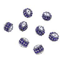 Strass Zinklegierung Perlen, silberfarben plattiert, Emaille & mit Strass, blau, frei von Nickel, Blei & Kadmium, 8mm, Bohrung:ca. 2mm, verkauft von PC