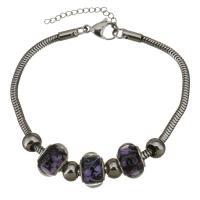 Edelstahl European Armband, mit Lampwork, mit Verlängerungskettchen von 1lnch, Schlangekette & für Frau, violett, 9x14mm, 3mm, verkauft per ca. 8.5 ZollInch Strang