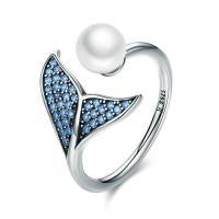 925er Sterling Silber Open -Finger-Ring, mit Muschelkern, silberfarben plattiert, Micro pave Zirkonia & für Frau, 6x14mm, Größe:13, verkauft von PC
