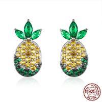 Sterling Silber Schmuck Ohrring, 925er Sterling Silber, Ananas, platiniert, Micro pave Zirkonia & für Frau, 8x17mm, verkauft von Paar