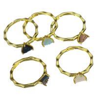 Messing Fingerring, mit Eisquarz Achat, Dreieck, goldfarben plattiert, für Frau, frei von Nickel, Blei & Kadmium, 6.5mm, Größe:7, verkauft von PC
