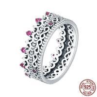 Zirkonia Micro Pave Sterling Silber Ringe, Thailand, Krone, verschiedene Größen vorhanden & Micro pave Zirkonia & für Frau, 7mm, Größe:6-8, verkauft von PC