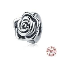 925 Sterlingsilber European Perlen, Thailand, Rose, ohne troll, 8x9mm, Bohrung:ca. 4.5-5mm, verkauft von PC