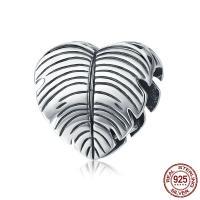 925 Sterlingsilber European Perlen, Thailand, Herz, ohne troll, 12x11mm, Bohrung:ca. 4.5-5mm, verkauft von PC