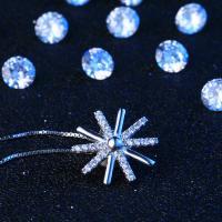 Sterling Silber Halsketten, 925er Sterling Silber, Schneeflocke, silberfarben plattiert, Kastenkette & für Frau & mit Strass, 15x15mm., verkauft per ca. 15.75 ZollInch Strang