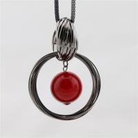 Zinklegierung Pullover Halskette, mit ABS-Kunststoff-Perlen, für Frau, rot, frei von Nickel, Blei & Kadmium, 80x60mm, verkauft per ca. 27.56 ZollInch Strang