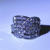 Zinklegierung Fingerring , platiniert, verschiedene Größen vorhanden & für Frau & mit Strass, frei von Nickel, Blei & Kadmium, Bohrung:ca. 5mm, verkauft von PC