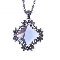 Zinklegierung Pullover Halskette, mit Kristall, Rhombus, Seil-Kette & für Frau & facettierte & mit Strass, keine, frei von Nickel, Blei & Kadmium, verkauft per ca. 25.6 ZollInch Strang
