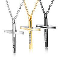 Titanstahl Halskette, mit Verlängerungskettchen von 2inch, Kreuz, plattiert, Oval-Kette & für den Menschen & mit Strass, keine, verkauft per ca. 20 ZollInch Strang
