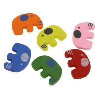 Holzperlen, Holz, Elephant, Einbrennlack, 20x31mm, Bohrung:ca. 2mm, 20PCs/Tasche, verkauft von Tasche