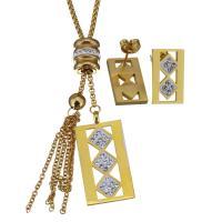 Edelstahl Schmucksets, Halskette, mit Ton, goldfarben plattiert, Kastenkette & für Frau, 21x40mm,2.5mm,10x17mm, Länge:ca. 21 ZollInch, verkauft von setzen