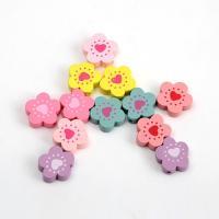 Holzperlen, Holz, Blume, Einbrennlack, 18mm, Bohrung:ca. 1mm, verkauft von Tasche