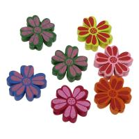 Holzperlen, Holz, Blume, Einbrennlack, 20mm, Bohrung:ca. 2mm, 50PCs/Tasche, verkauft von Tasche
