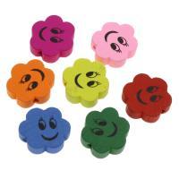 Holzperlen, Holz, Blume, Einbrennlack, 20mm, Bohrung:ca. 1.5mm, 50PCs/Tasche, verkauft von Tasche