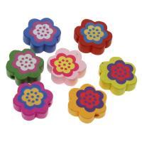 Holzperlen, Holz, Blume, Einbrennlack, 20mm, Bohrung:ca. 2mm, 100PCs/Tasche, verkauft von Tasche
