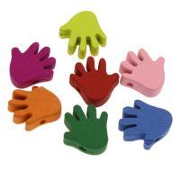 Holzperlen, Holz, Hand, Einbrennlack, 17x18mm, Bohrung:ca. 2mm, 500PCs/Tasche, verkauft von Tasche