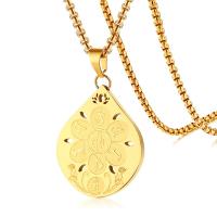 Edelstahl Schmuck Halskette, Tropfen, goldfarben plattiert, Kastenkette & für den Menschen & hohl, 31.60x37mm, verkauft per ca. 23.6 ZollInch Strang