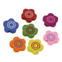 Holzperlen, Holz, Blume, Einbrennlack, 18mm, Bohrung:ca. 2mm, 500PCs/Tasche, verkauft von Tasche