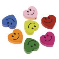 Holzperlen, Holz, flacher Herz, Einbrennlack, 18mm, Bohrung:ca. 1.5mm, 100PCs/Tasche, verkauft von Tasche