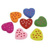 Holzperlen, Holz, flacher Herz, Einbrennlack, 22mm, Bohrung:ca. 2mm, 100PCs/Tasche, verkauft von Tasche