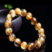 Rutilated Quarz Armband, rund, unisex & verschiedene Größen vorhanden, goldfarben, verkauft per ca. 7.5 ZollInch Strang