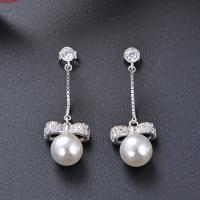 925 Sterling Silber Tropfen Ohrring, mit Muschelkern, für Frau & mit Strass, Silberfarbe, 11.5x41.8mm, verkauft von Paar