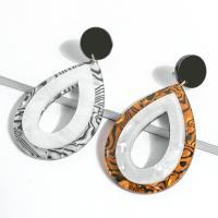 Acetat-Blatt Tropfen Ohrring, mit Harz, für Frau, keine, 35x70mm, verkauft von Paar