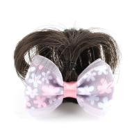 Haarklammer, Kunststoff, mit Künstliche Faser & Stoff, Schleife, für Frau, violett, 48x37x18mm, verkauft von PC