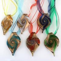 Lampwork Halskette, mit Stoff & Nylonschnur & Eisen, mit Verlängerungskettchen von 5cm, Platinfarbe platiniert, für Frau & Goldsand, gemischte Farben, 40x63x15mm, Länge:ca. 17.3 ZollInch, 12SträngeStrang/Box, verkauft von Box